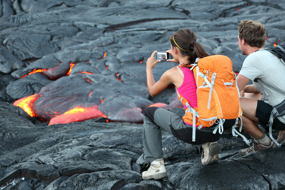 Collecting Lava Rocks and Sand
